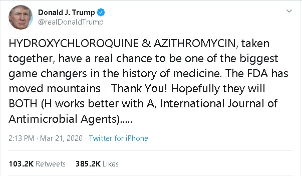 Trump said: buy hydroxychloroquine